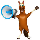Cute Horse cartoon character with loud speaker Stock Photo