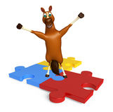 cute Horse cartoon character with puzzle sign Royalty Free Stock Image