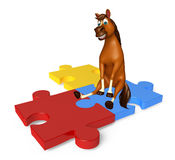 cute Horse cartoon character with puzzle sign Stock Photo