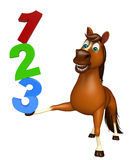 Cute Horse cartoon character with 123 sign Stock Photos