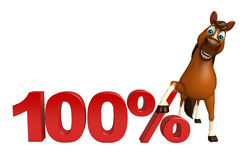 Cute Horse cartoon character  with 100% sign. 3d rendered illustration of Horse cartoon character with 100% sign Stock Images