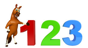Cute Horse cartoon character with 123 sign Stock Images