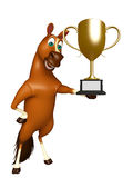Cute Horse cartoon character with winning cup Stock Image