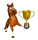 Cute Horse cartoon character with winning cup Stock Photography