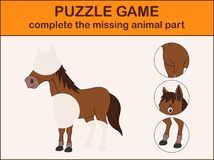 Cute horse cartoon. Complete the puzzle and find the missing parts of the picture vector illustration
