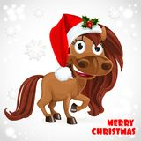 Cute Horse on Christmas card Stock Photos