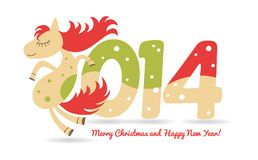 Cute horse for Christmas greetings and calendar. And for the new year stock illustration