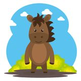 Cute horse in the field landscape character. Vector illustration design Stock Image