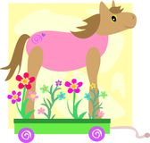 Cute Horse on a Flower Cart Stock Photos