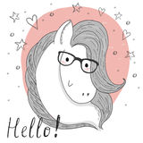 Cute horse and glasses sketch doodle. Vector illustration. Royalty Free Stock Image