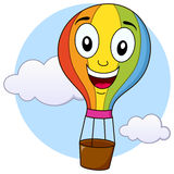 Cute Hot Air Balloon Cartoon Character. A happy cartoon hot air balloon character flying in the sky, isolated on white background. Eps file available Stock Image