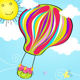 Cute hot air balloon flying in the sky Royalty Free Stock Photo