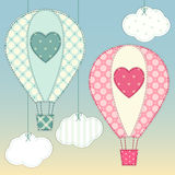 Cute hot air balloons as retro fabric applique in shabby chic style. For your decoration Stock Photography