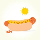 Cute hot dog under the sun Stock Photo