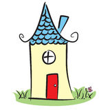 Cute house. Cute little house with flower and grass Stock Photo