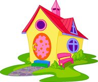 Cute house. Fantasy Cute House with Front Yard Stock Images