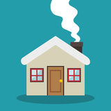 Cute house with chimney. Vector illustration design Royalty Free Stock Image
