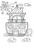 Cute house for coloring page. Black and white cartoon house for coloring pages. Vector illustration royalty free illustration