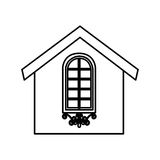 Cute house exterior icon. Vector illustration design Stock Photo