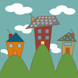 Cute house on the hill Stock Images
