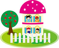 Cute house and love tree Royalty Free Stock Image