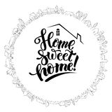 Cute house and modern lettering Royalty Free Stock Photos