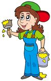Cute house painter. Illustration Stock Images