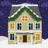 Cute house in the snow. Christmas landscape background with cottage. Landscape with a house, flat illustration Stock Photo