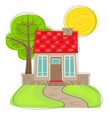 Cute House With Tree Royalty Free Stock Image