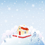 Cute house in winter time Stock Photos