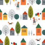 Cute houses, cat, fox and autumn trees seamless pattern on white background. Stock Photos