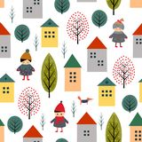 Cute houses, children, fox and trees seamless pattern on white background. Stock Photos