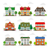 Cute houses in flat style Royalty Free Stock Images