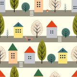 Cute houses, fox and autumn trees along the street seamless pattern  Royalty Free Stock Images