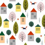 Cute houses, fox and autumn trees seamless pattern on white background. Stock Photography