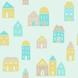Cute houses pattern. Vector EPS10 hand drawn cute colorful seamless pattern Stock Photos