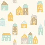 Cute houses pattern. Vector EPS10 hand drawn cute retro seamless pattern stock illustration