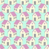 Cute houses with pink roofs seamless pattern. Royalty Free Stock Photo
