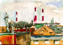 Cute houses with red roofs watercolor artwork Stock Images