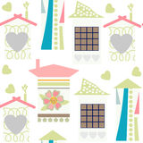 Cute houses  seamless pattern and seamless pattern in swatch men. U, vector  illustration. Texture for design Royalty Free Stock Images