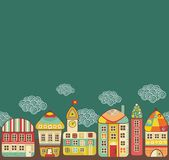 Cute houses seamless pattern. Stock Images