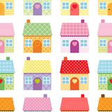 Cute houses seamless pattern on white background in scandinavian style royalty free illustration