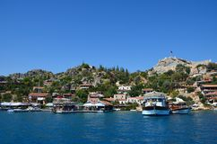 Cute houses on the south coast of Turkey. View from the sea to t royalty free stock photos