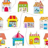Cute houses in the town seamless pattern with street and roads. Vector illustration. Cute houses in the town seamless pattern with street and roads. Vector vector illustration
