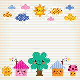 Cute houses, tree, sun, mushroom, clouds kids lined paper background Stock Photo