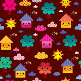 Cute houses and trees kids seamless pattern Stock Photo