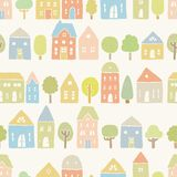 Cute houses and trees pattern. Vector EPS10 hand drawn houses seamless pattern Stock Photo