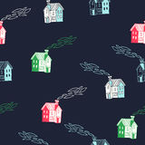 Cute houses. Vector seamless pattern. Doodle illustration of town street Royalty Free Stock Images
