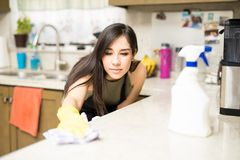 Cute housewife cleaning the kitchen. Portrait of a beautiful young Hispanic housewife doing chores at home and cleaning the kitchen counter stock image