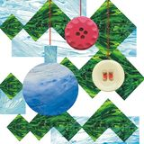 Cute сhristmas toys hang on a Christmas tree branch.Nee year and christmas collage. vector illustration